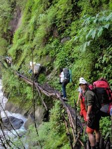 2013 slippery bridge, Lapchi, Nepal