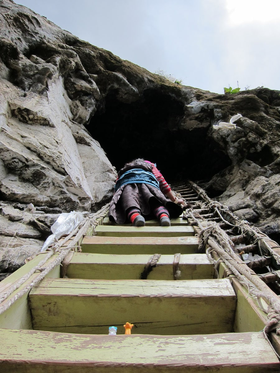 Ladder to cave at Drak Yongdzong