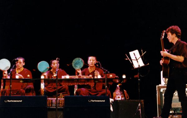 Steve and nuns onstage in Madison 1998 at the Barrymore Theater