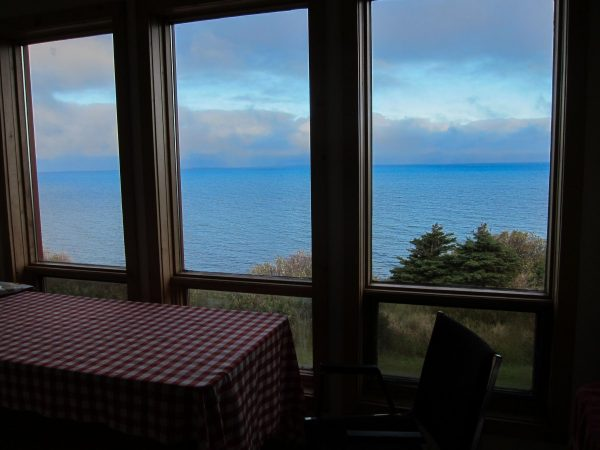 View from the kitchen, looking out at the ocean
