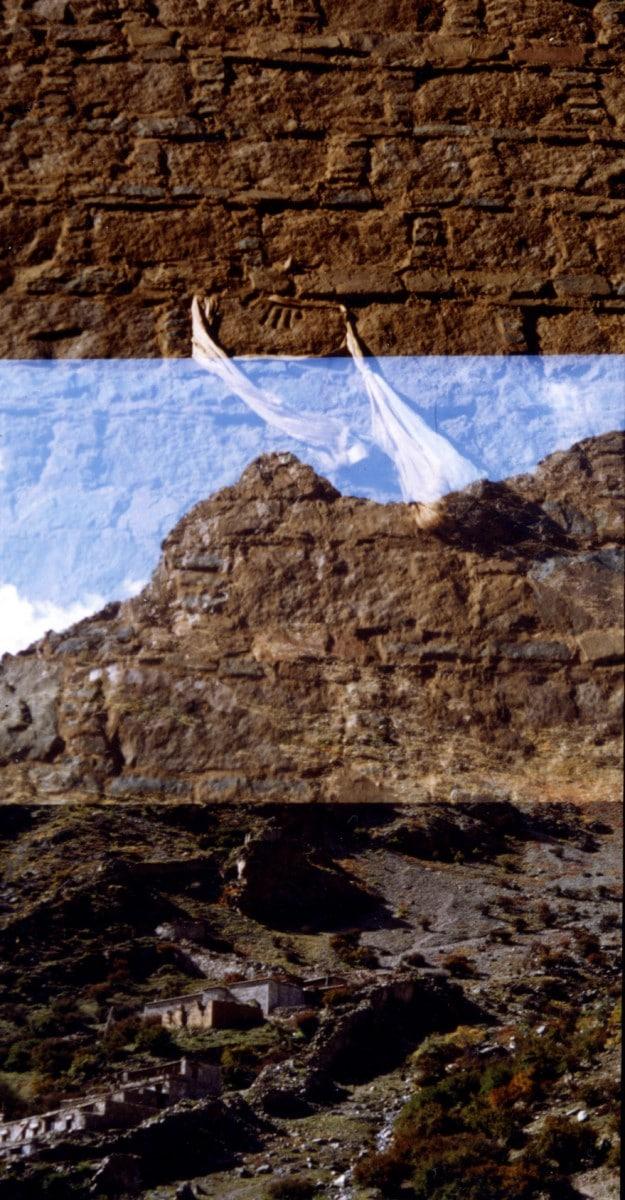 Tsurphu, Karmapa's handprint on a rock enshrined in a wall.