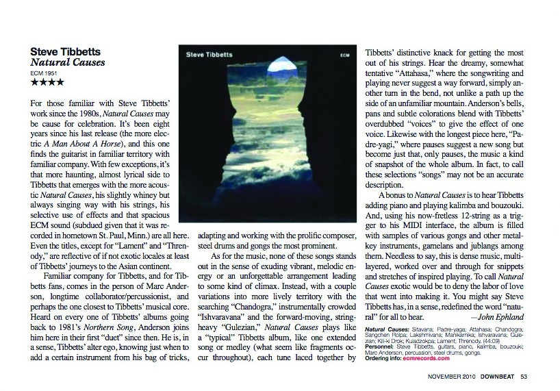 Natural Causes review in Downbeat Magazine