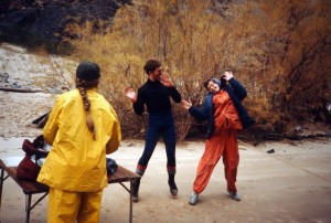 Steve & his mom dancing in the canyon, Ellen in yellow rain jacket