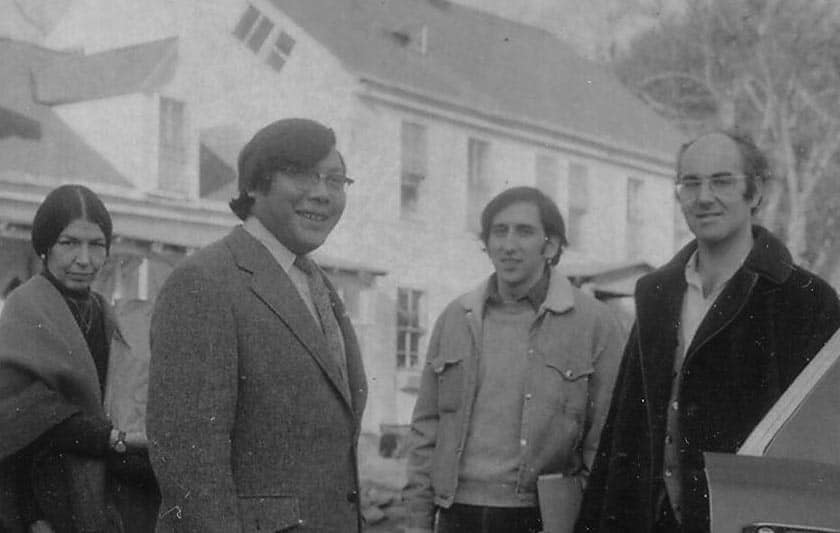 Olive at Karme Choling with Trungpa Rinpoche, Karl Springer, and Jeremy Hayward, 1970.